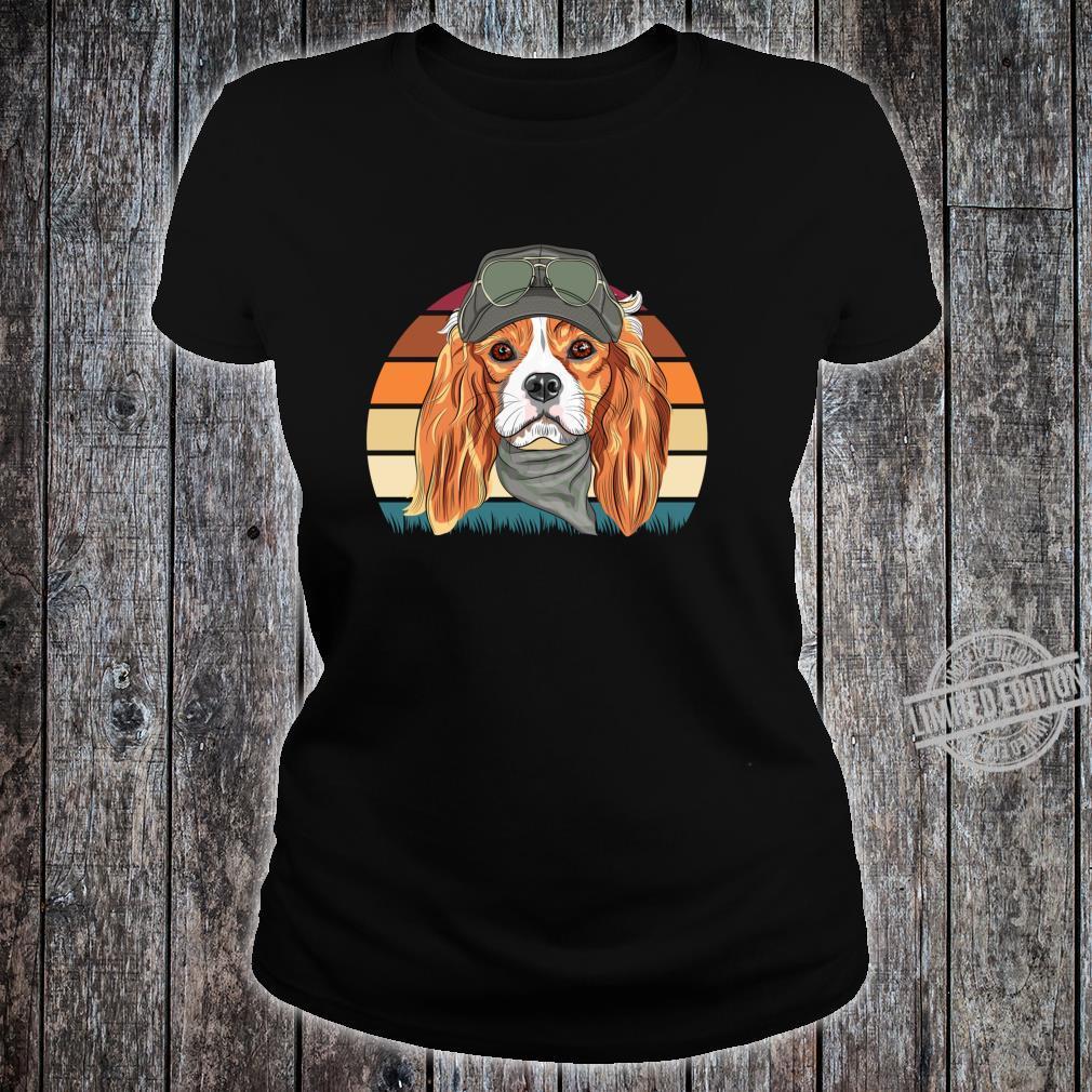 Retro Spaniel Geschenk Hunde Langarmshirt Shirt ladies tee
