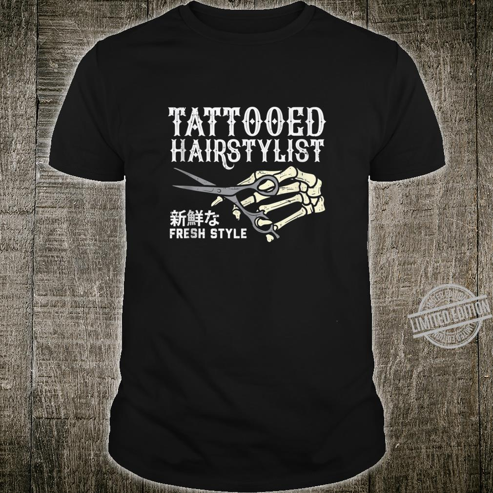 Tattooed Hair Stylist Skeleton Hand Hairdresser Barber Shirt
