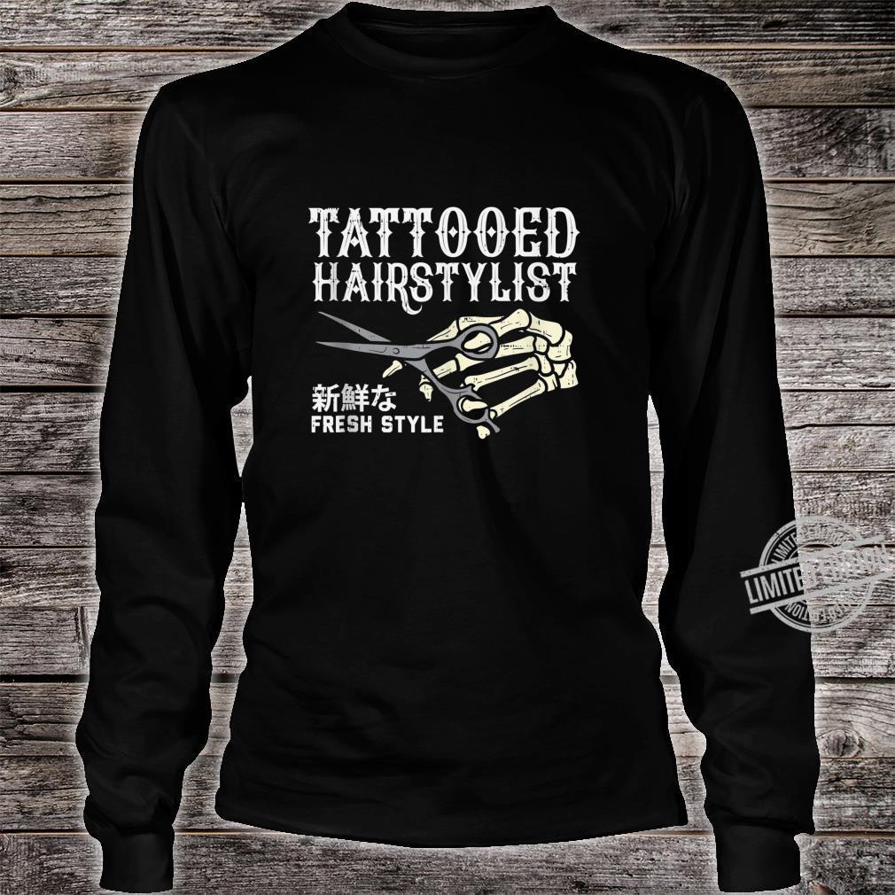 Tattooed Hair Stylist Skeleton Hand Hairdresser Barber Shirt long sleeved