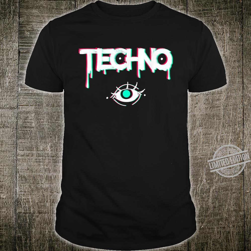 Techno Rave Eye Print for 90s Electro House Music Party Shirt