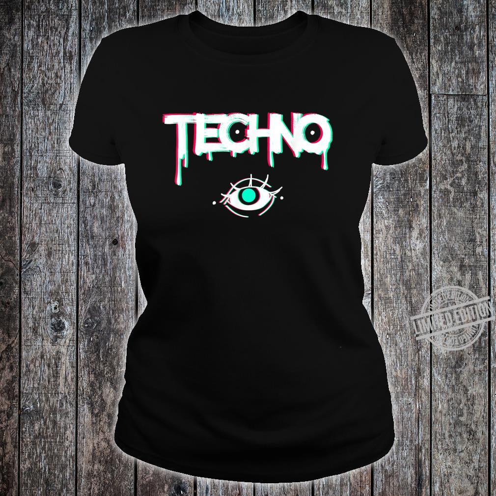 Techno Rave Eye Print for 90s Electro House Music Party Shirt ladies tee
