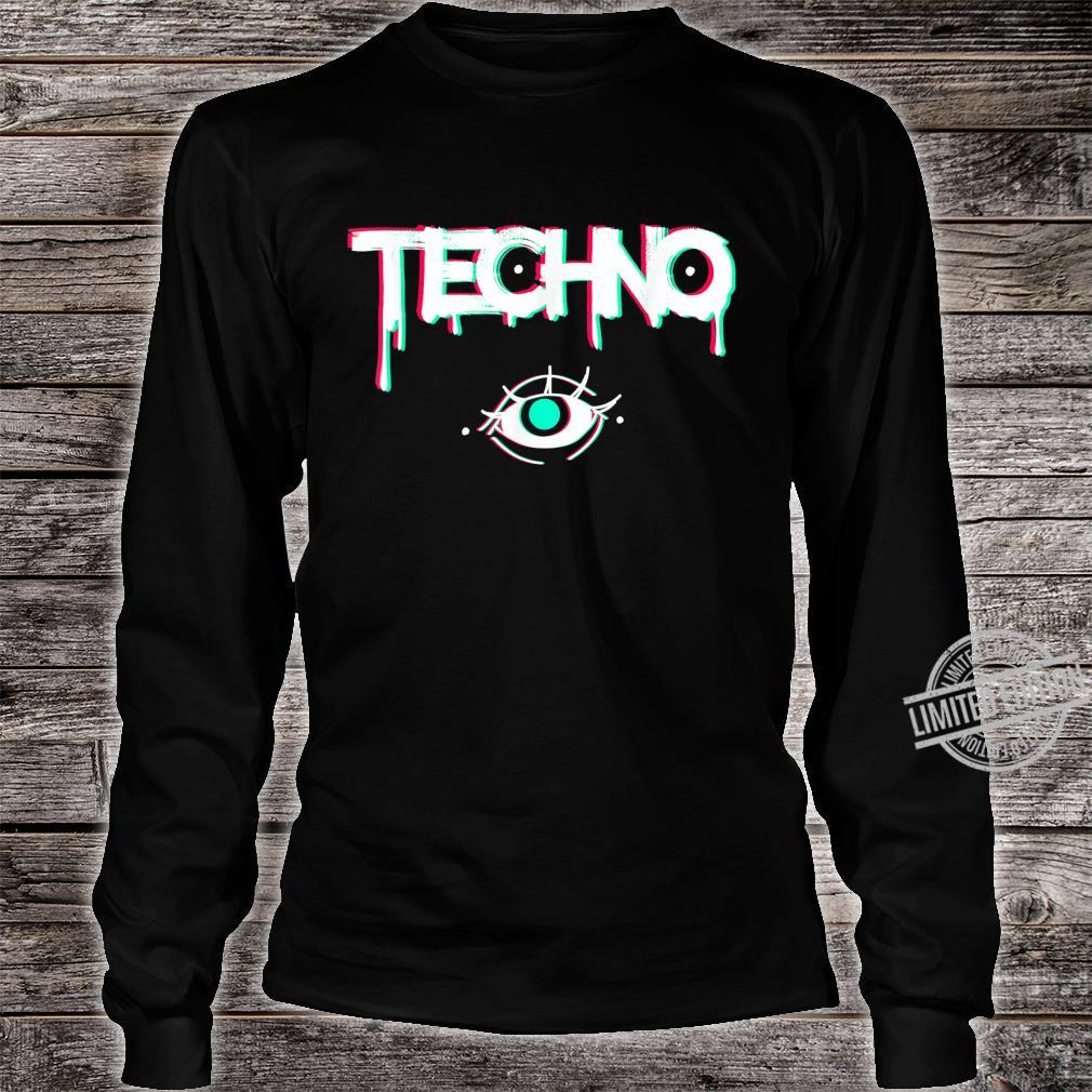 Techno Rave Eye Print for 90s Electro House Music Party Shirt long sleeved
