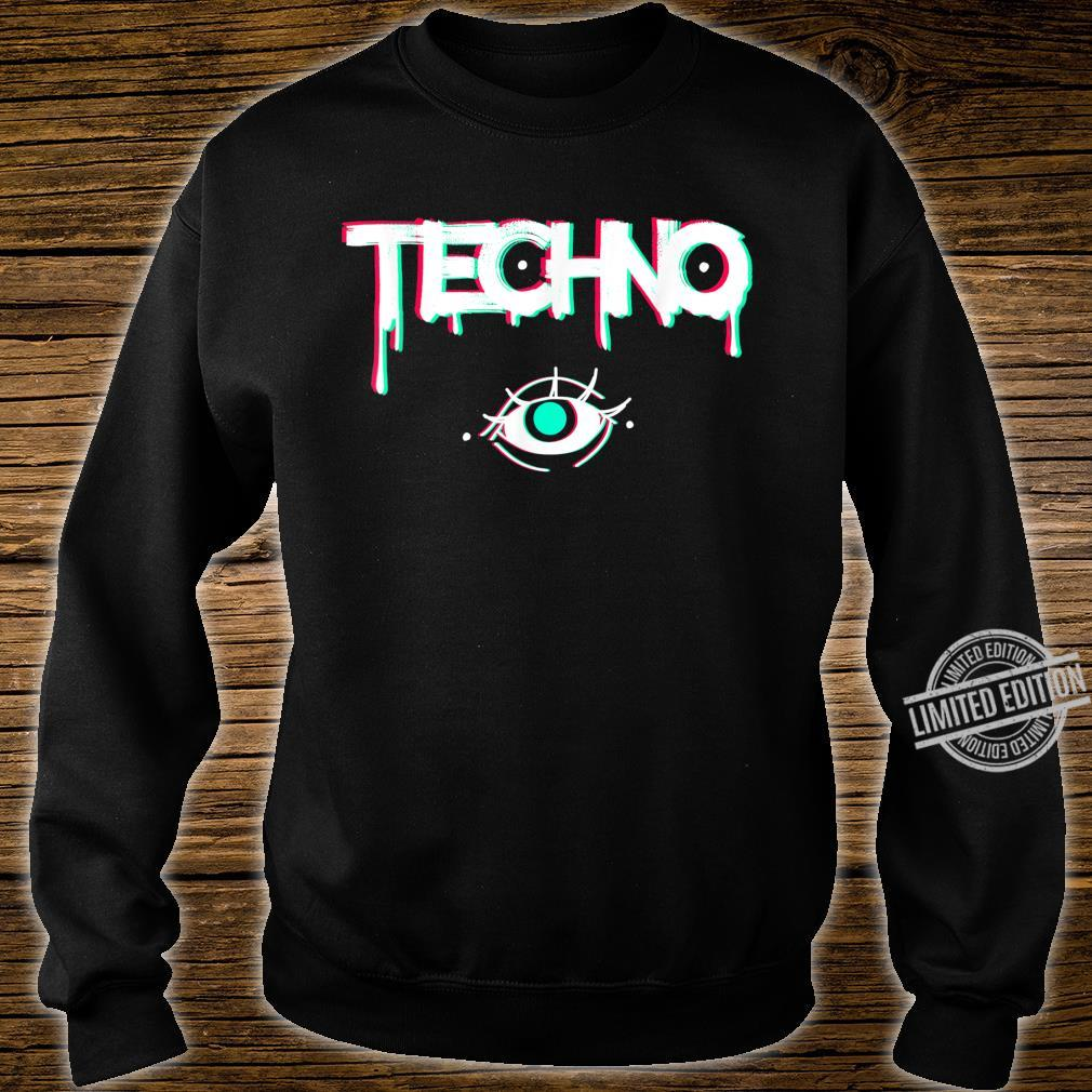 Techno Rave Eye Print for 90s Electro House Music Party Shirt sweater
