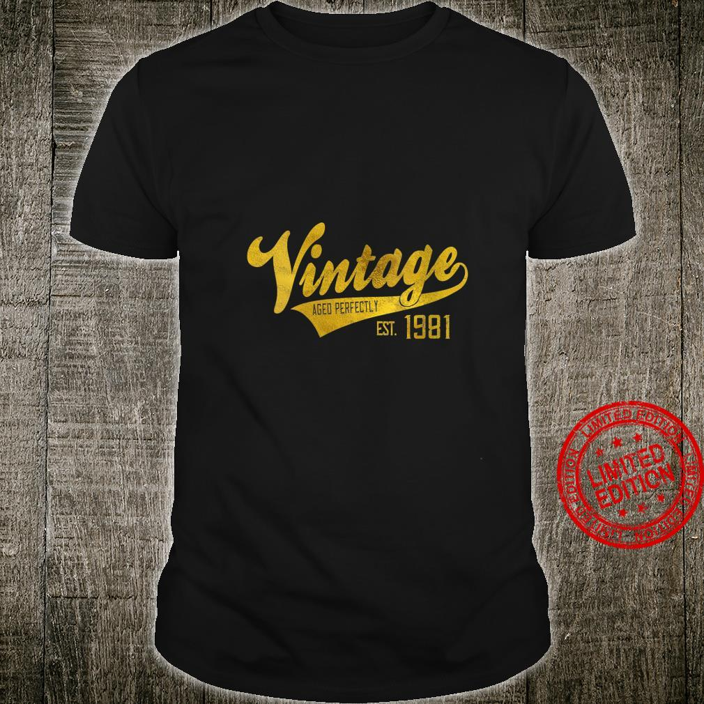 Womens Vintage Est 1981 Shirt Aged 39 yrs old Bday 39th Birthday Shirt